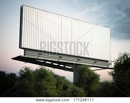 Blank outdoor advertising billboard against cloudy sky in green trees. 3d rendering