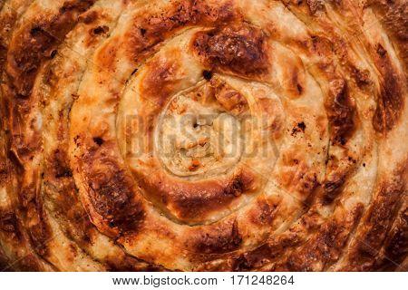 Traditional Bosnian Turkish dish pork pie pie in the pan
