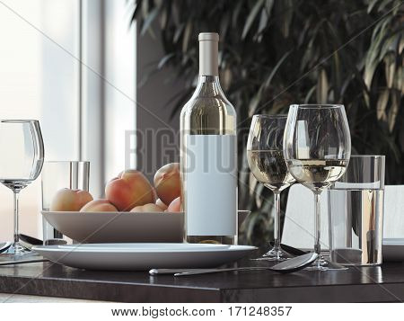 Table setting with white wine and glasses. 3d rendering