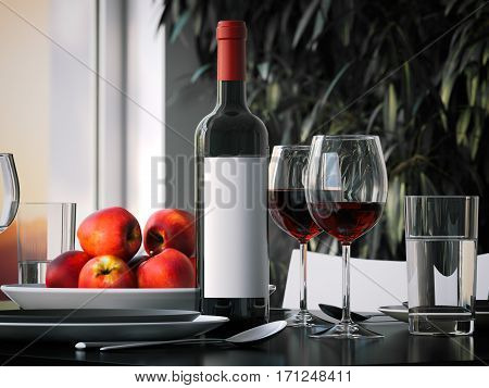 Table setting with red wine and glasses. 3d rendering