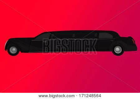Luxury vehicle stretch car. Black limousine, side view. Limo, saloon car or luxury sedan in trendy flat design, side view, isolated