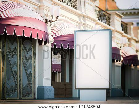 Black blank advertising stand on tourist street. 3d rendering