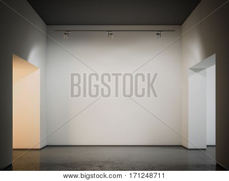 Warm gallery with black ceiling. 3d rendering