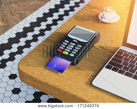 POS Credit card machine on wooden table in restaurant. 3d rendering