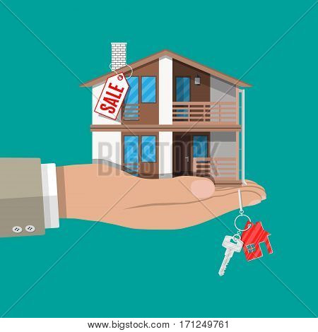 Hand with small house, keys and price tag. Buying or selling house, real estate. Vector illustration in flat style