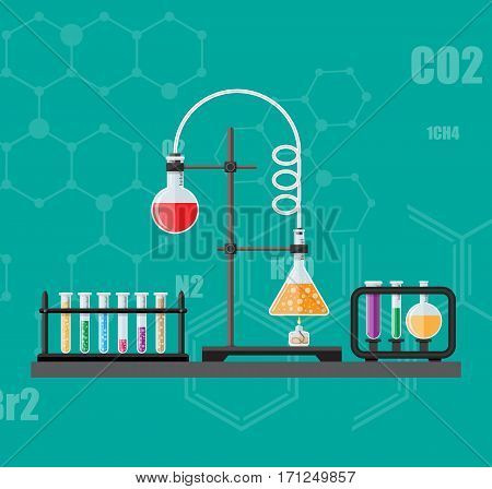 Laboratory equipment, jars, beakers, flasks, spirit lamp on table. Biology science education medical vector illustration in flat style