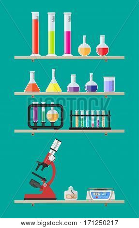 Laboratory equipment on shelves, jars, beakers, flasks, microscope, spirit lamp, scales, biology science education medical vector illustration in flat style