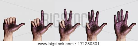 Hands counting from one to five Set