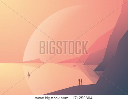 Sci-fi fantasy landscape vector illustration background with ocean bay and planet in background. Symbol of adventure, exploration. Eps10 vector illustration.