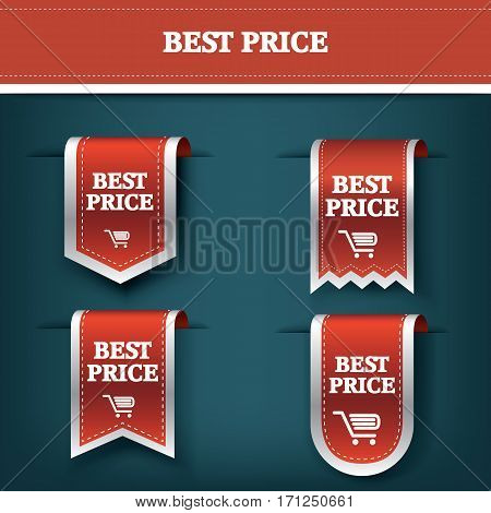 Collection of vertical sales ribbon vector tag icons for product promotion and shopping. Bookmark 3d design with realistic shadows. Eps10 vector illustration.