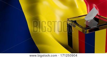Ballot Box On Chad Flag Background, 3D Illustration