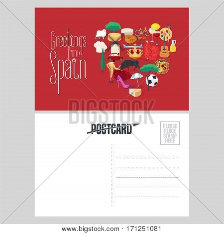 Set of Spanish landmarks, culture, music, food icons in vector postcard template. Double sided with text field for greeting. Heart shape design element for visiting Spain concept