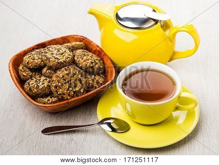 Cookies With Sesame And Sunflower Seeds In Bamboo Bowl, Tea