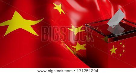 Ballot Box On China Flag Background, 3D Illustration
