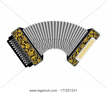 Accordion Isolated. Russian National Folk Musical Instruments