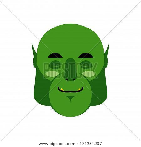 Ogre Sleeping Emoji. Goblin Asleep Emotion Isolated. Green Monster Face