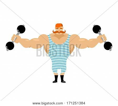 Retro Athlete With Red Mustache. Vintage Sportsman. Ancient Bodybuilder. Old Strong Man In Striped O