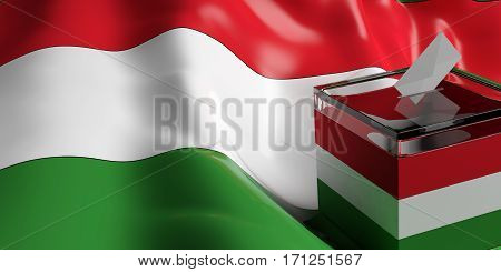 Ballot Box On Hungary Flag Background, 3D Illustration