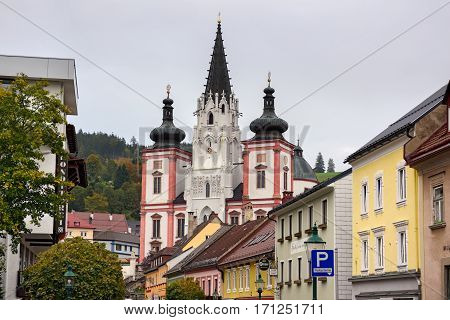 MARIAZELL/ AUSTRIA - OCTORBER 7. Shrine of Our Lady in city Mariazell - site of pilgrimage for catholics on October 7, 2016. Austria.