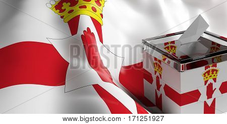 Ballot Box On Northern Ireland Flag Background, 3D Illustration