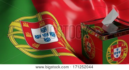 Ballot Box On Portugal Flag Background, 3D Illustration
