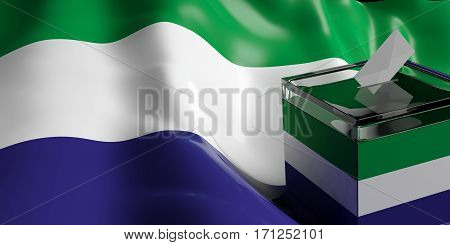 Ballot Box On Sierra Leone Flag Background, 3D Illustration