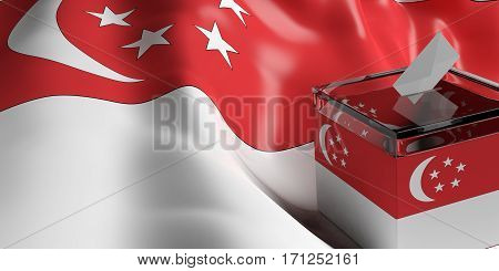 Ballot Box On Singapore Flag Background, 3D Illustration