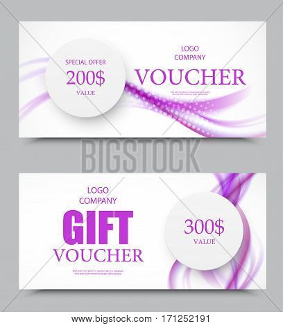 Gift company voucher template on two and three hundred dollars with paper gray circles and purple wavy soft smoky lines pattern. Vector illustration