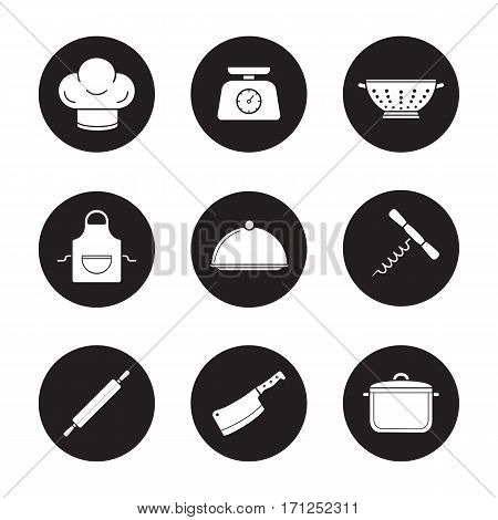 Kitchenware icons set. Chef's hat, kitchen food scales, colander, apron, covered dish, stew pot, rolling pin, cleaver, corkscrew. Vector white silhouettes illustrations in black circles