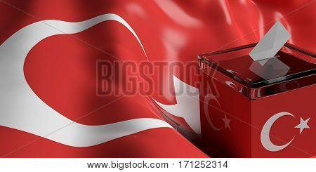 Ballot Box On Turkey Flag Background, 3D Illustration