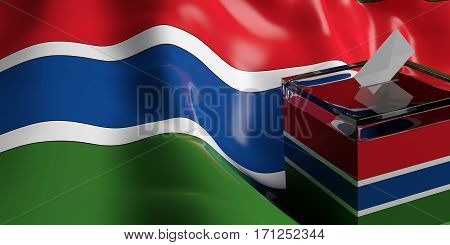 Ballot Box On Gambia Flag Background, 3D Illustration