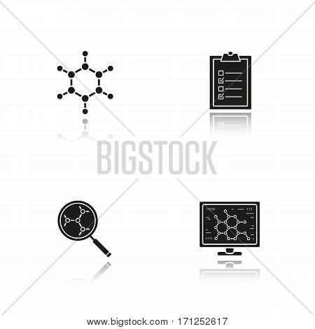 Science lab drop shadow black icons set. Molecule, laboratory computer, molecular structure analysis, tests checklist. Isolated vector illustrations