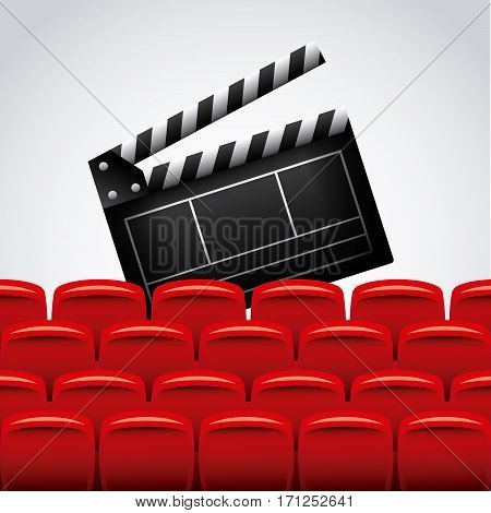 Clapboard and theater chairs over white background. colorful design. vector illustration