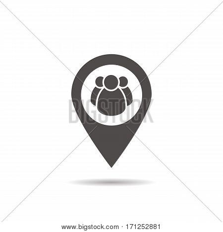 Meeting point location icon. Friends nearby. Drop shadow gps mark silhouette symbol. Group of people inside pinpoint. Negative space. Vector isolated illustration