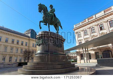 Equestrian statue of Archduke Albrecht Duke of Teschen. Vienna, Austria.