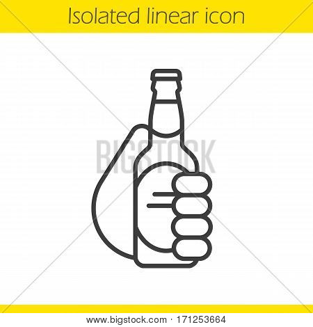 Hand holding beer bottle linear icon. Cheers. Thin line illustration. Toasting hand with beer. Contour symbol. Vector isolated outline drawing