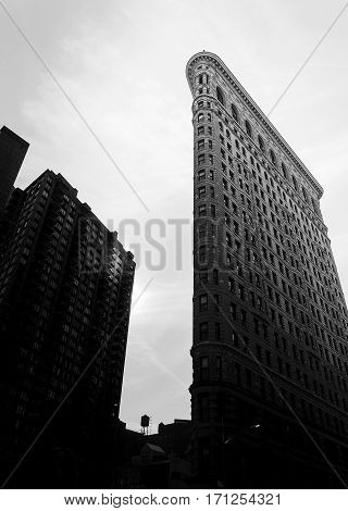 New York, USA, november 2016: Black and white view of Flatiron Building New York City