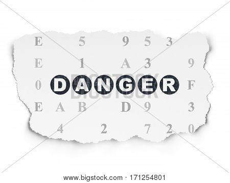 Security concept: Painted black text Danger on Torn Paper background with  Hexadecimal Code