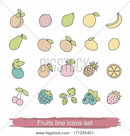 Fruits and berries line icon set. Collection fruits and berries icon in thin line style.