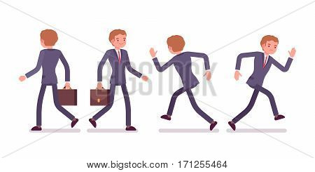 Set of young businessman in formal wear, walking and running poses, busy organizing new project, searching for profit, full length, front and rear view, isolated against white background