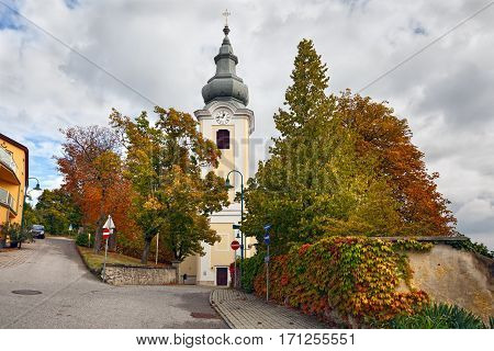 Catholic church Gainfarn of the nineteenth century in the spa town Bad Voeslau. Lower Austria.