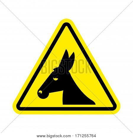 Attention Donkey Driving. Jackass On Yellow Triangle. Road Sign Attention Stupid Loser