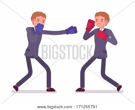 Two young businessmen boxing, wearing protective gloves, throwing punches in a boxing ring, attacking, rivalry for profits, market share, business competition, full length, isolated, white background