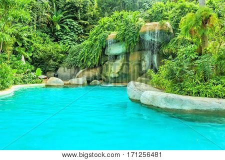 Cozy sitting area with lush tropical vegetation around the pond