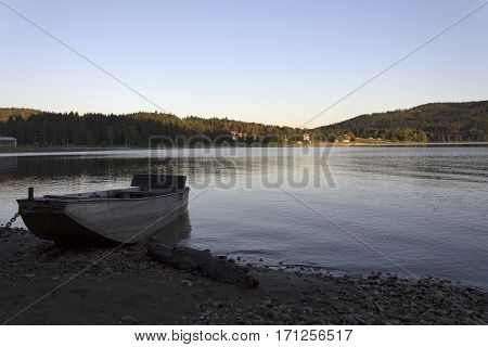 Sunrise on Lipno lake in the Czech Republic.