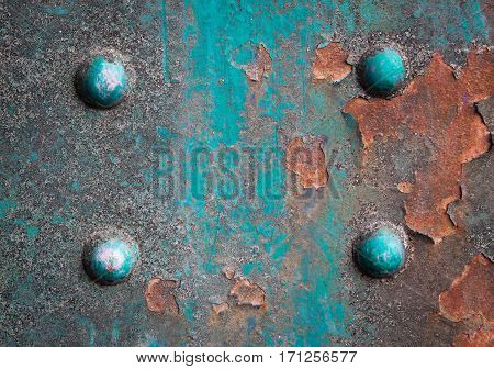 Old rusted steel - rusty metal texturee. Big rusty metal plate, rust and corrosion. Bolts