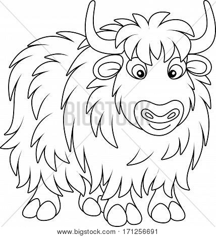 Black and white vector illustration of a wooly yak in cartoon style