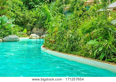 Cozy corner to relax with lush tropical vegetation around the pond
