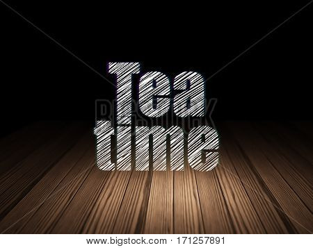 Timeline concept: Glowing text Tea Time in grunge dark room with Wooden Floor, black background