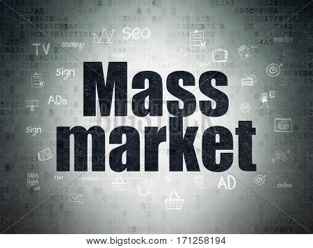 Marketing concept: Painted black text Mass Market on Digital Data Paper background with  Hand Drawn Marketing Icons